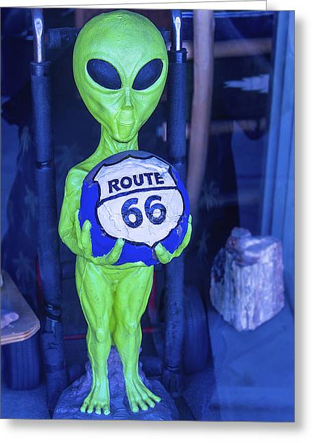 Martians Greeting Cards - Route 66 Alien Greeting Card by Garry Gay