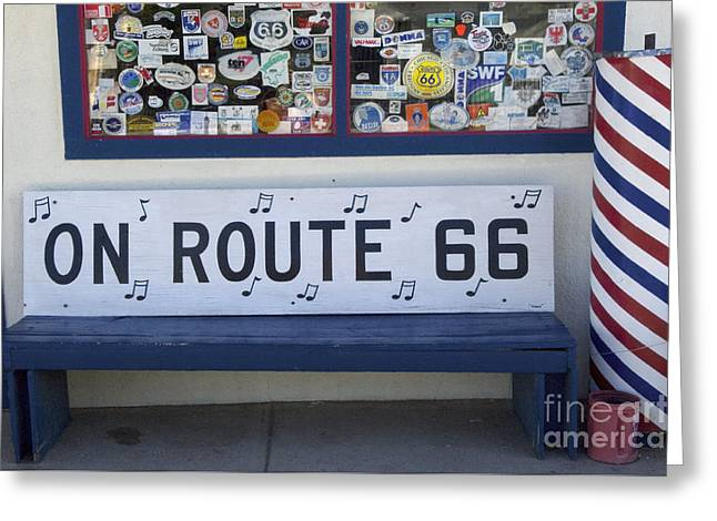 Sights Along Route 66 Greeting Cards - Route 66 Bench Greeting Card by Bob Christopher