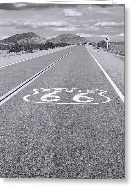 Route 66 Greeting Cards - Route 66 black and white Greeting Card by Lutz Baar