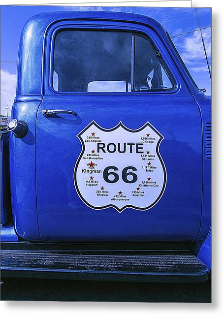 Classic Vehicle Greeting Cards - Route 66 Blue truck Greeting Card by Garry Gay
