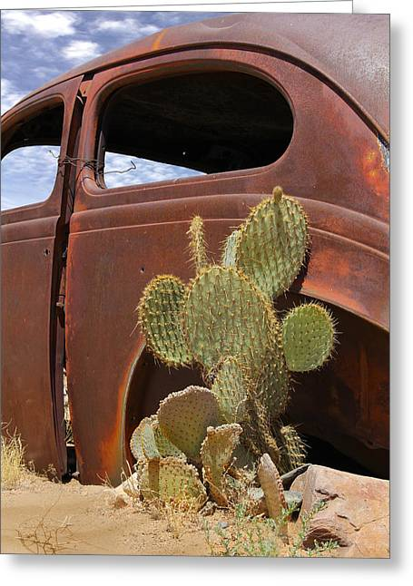 Old Automobile Greeting Cards - Route 66 Cactus Greeting Card by Mike McGlothlen