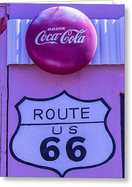 Route 66 Greeting Cards - Route 66 Coca Cola Sign Greeting Card by Garry Gay