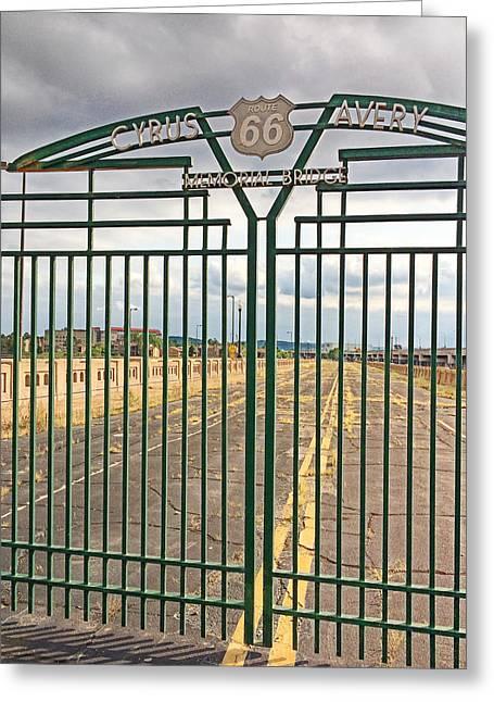 Scenic Drive Greeting Cards - Route 66 Cyrus Avery Memorial Bridge Greeting Card by Roberta Peake