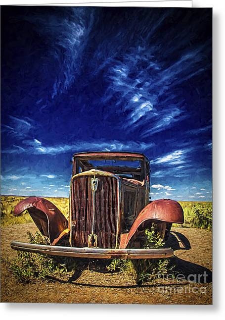 Rusted Cars Greeting Cards - Route 66 Derelict  ... Greeting Card by Chuck Caramella