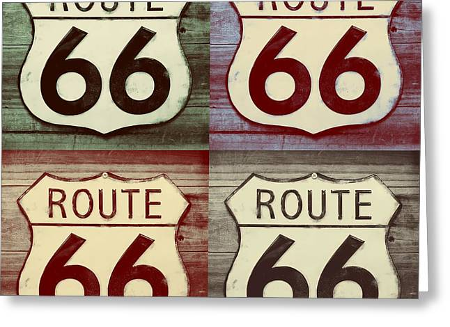 Main Street Greeting Cards - Route 66 Funked Greeting Card by Robert ONeil