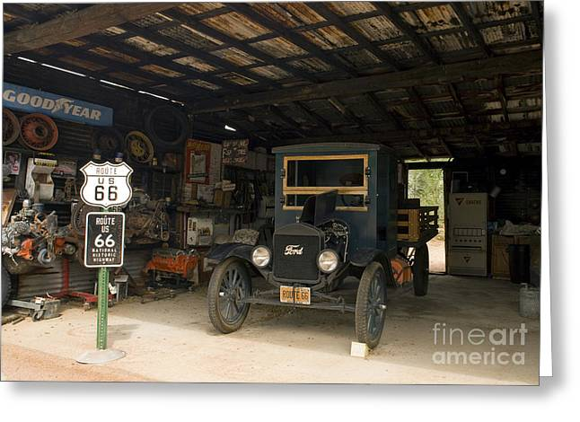 Hackberry Greeting Cards - Route 66 Garage, 2009 Greeting Card by Granger