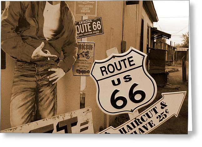 66 Greeting Cards - Route 66 - James Dean Greeting Card by Mike McGlothlen