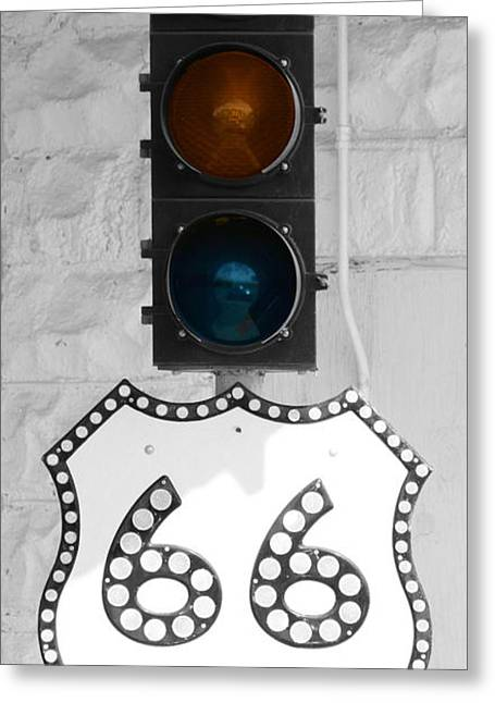 Stop Light Greeting Cards - Route 66 Greeting Card by Karen M Scovill