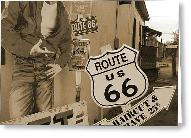 Sepia Mixed Media Greeting Cards - Route 66 Greeting Card by Mike McGlothlen