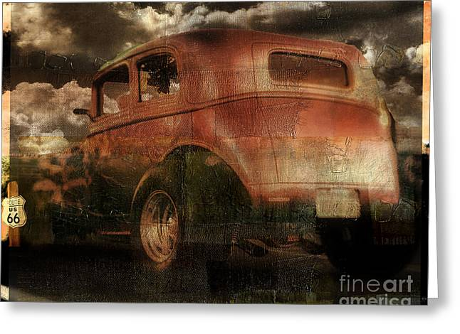 Rusted Cars Greeting Cards - Route 66 Greeting Card by Mindy Sommers