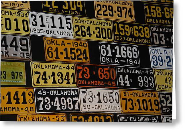 Route 66 Oklahoma Car Tags Greeting Card by Susanne Van Hulst