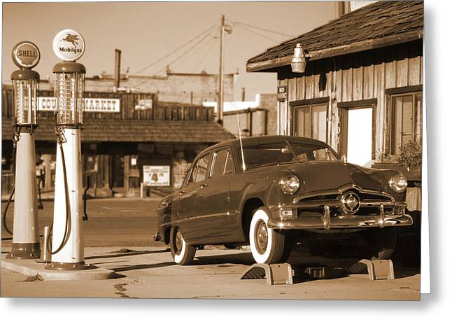 Route 66 - Old Service Station Greeting Card by Mike McGlothlen