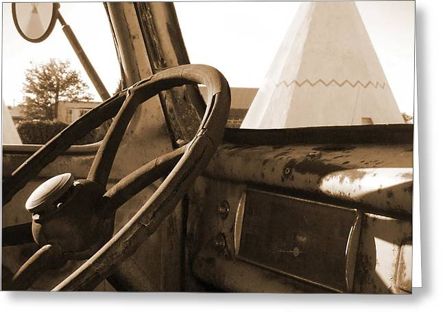 Route 66 - Parking At The Wigwam Greeting Card by Mike McGlothlen