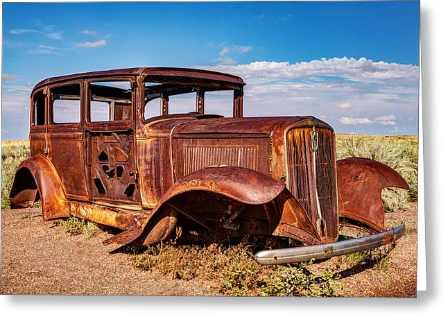 Petrified Forest Arizona Greeting Cards - Route 66 Studebaker Greeting Card by James Marvin Phelps