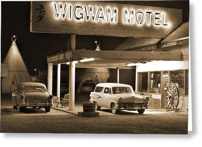 Route 66 - Wigwam Motel Greeting Card by Mike McGlothlen