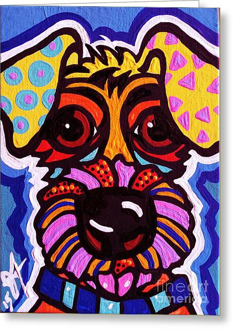 Puppies Paintings Greeting Cards - Rover Greeting Card by Jackie Carpenter