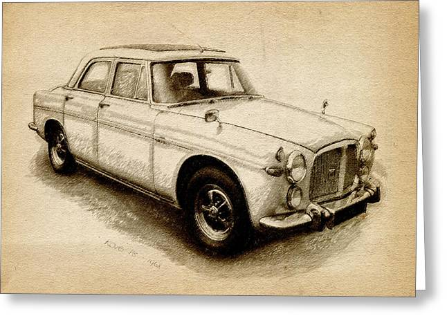 Drawing Greeting Cards - Rover P5 1968 Greeting Card by Michael Tompsett