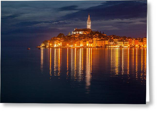 Adriatic Sea Greeting Cards - Rovinj by night Greeting Card by Davorin Mance