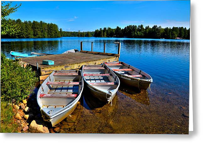 Row Boat Greeting Cards - Row Boats on White Lake Greeting Card by David Patterson