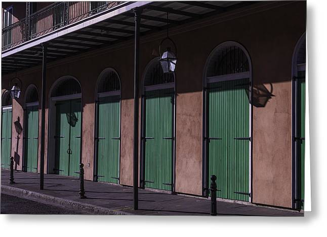 Nola Photographs Greeting Cards - Row Of Green Doors Greeting Card by Garry Gay