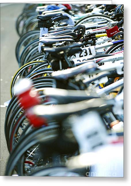 Morning Race Greeting Cards - Row of race bikes 4 Greeting Card by Micah May