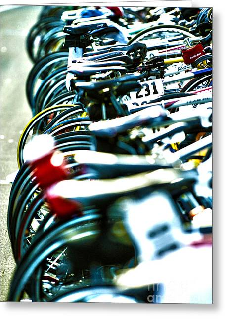 Morning Race Greeting Cards - Row of race bikes 5 Greeting Card by Micah May