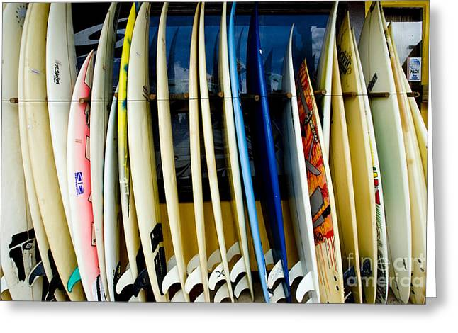 Surfing Art Greeting Cards - Row of Surfboards Greeting Card by Ray Laskowitz - Printscapes