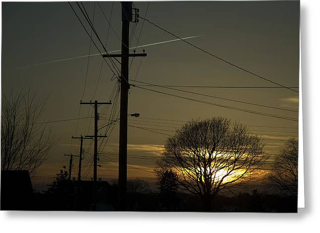 Groton Greeting Cards - Row Of Telephone Poles With Jet Greeting Card by Todd Gipstein