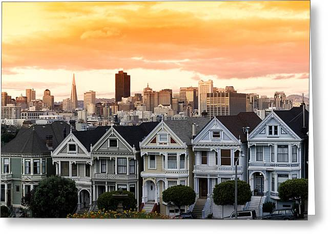 Painted Lady Greeting Cards - Row Of Victorian Houses In A City Greeting Card by Panoramic Images