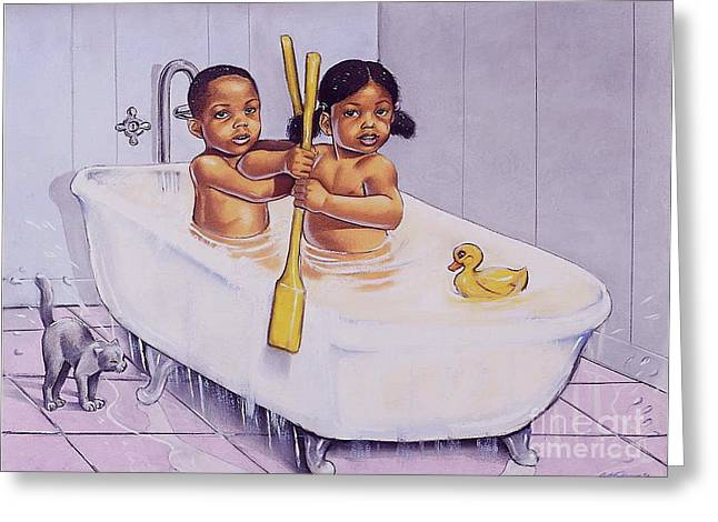 Kid Pastels Greeting Cards - Row Row Row Greeting Card by Curtis James