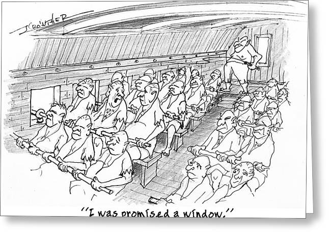 Galley Slaves Drawings Greeting Cards - Row Row Row Greeting Card by John Crowther