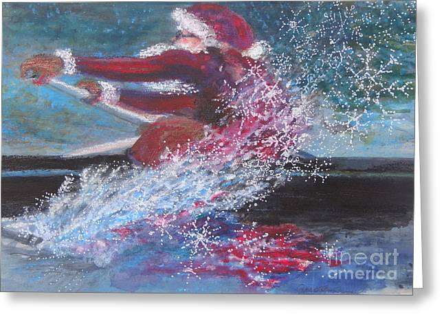 Scull Prints Greeting Cards - Row Row Row Greeting Card by Patrice Murphy