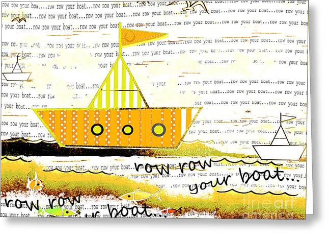 Baby Room Greeting Cards - Row Your Boat - Sailboat Baby Nursery Toddler Art Greeting Card by ArtyZen Studios - ArtyZen Home