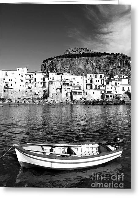 Rowboat Along An Idyllic Sicilian Village. Greeting Card by Stefano Senise