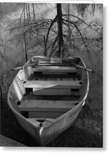 Rowboat And Tree Greeting Card by Michael L Kimble