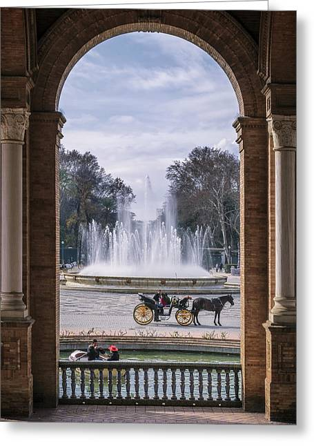 Rowboat, Fountain, Horse And Carriage Greeting Card by Joan Carroll
