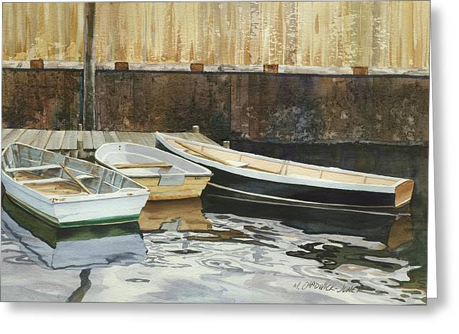 Dinghy Greeting Cards - Rowboat Trinity Greeting Card by Marguerite Chadwick-Juner