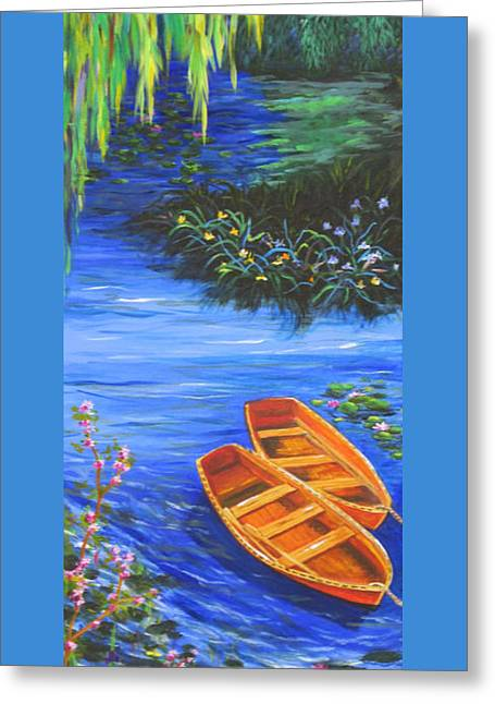 Willow Lake Greeting Cards - Rowboats Greeting Card by Anne Marie Brown