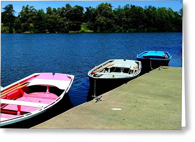 Docked Boats Greeting Cards - Rowboats Greeting Card by Brad Nellis