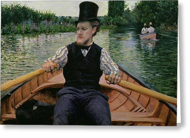 Punting Greeting Cards - Rower in a Top Hat Greeting Card by Gustave Caillebotte