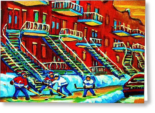 Montreal Winter Scenes Paintings Greeting Cards - Rowhouses And Hockey Greeting Card by Carole Spandau
