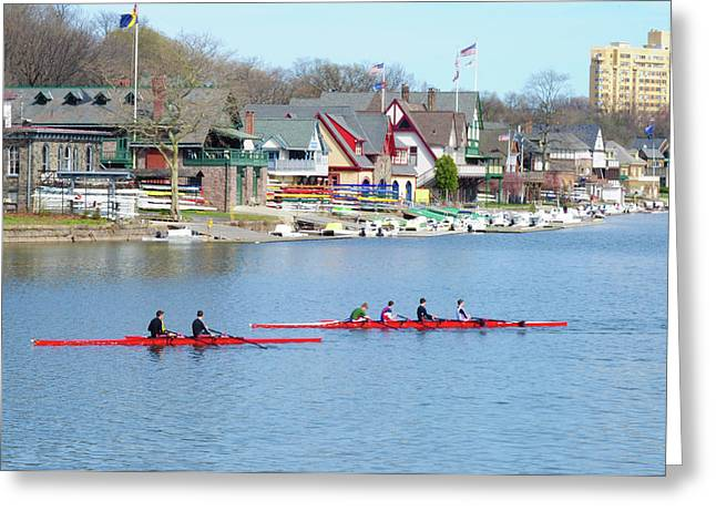 Rowing Along The Schuylkill River Greeting Card by Bill Cannon