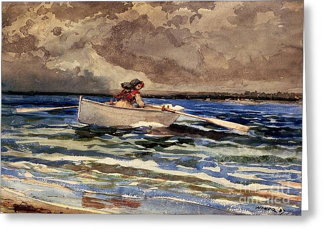 Yachting Greeting Cards - Rowing at Prouts Neck Greeting Card by Winslow Homer