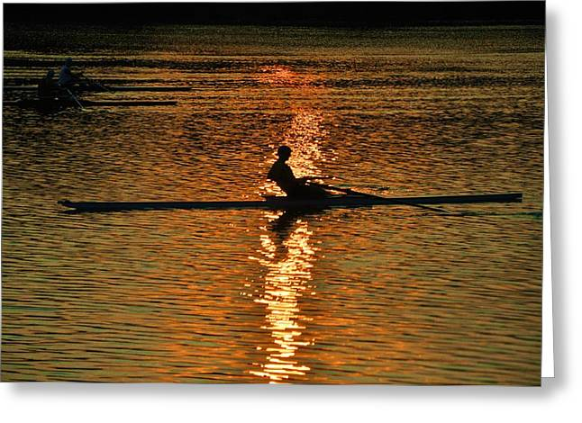 Row Boat Greeting Cards - Rowing at Sunset 3 Greeting Card by Bill Cannon