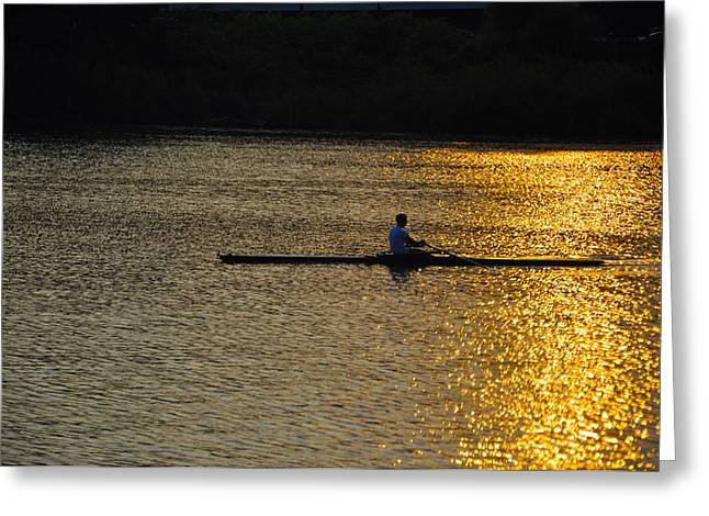 Rowing At Sunset Greeting Card by Bill Cannon