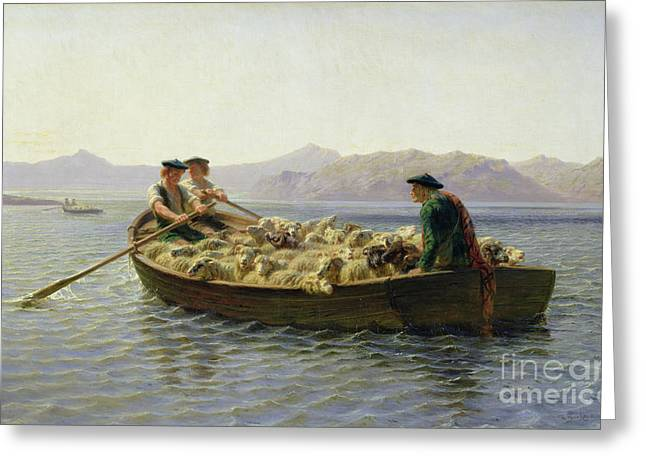 Water Vessels Greeting Cards - Rowing Boat Greeting Card by Rosa Bonheur