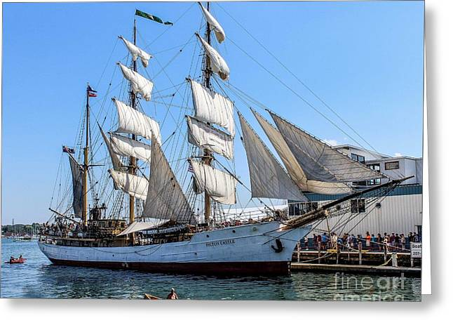 Ocean Photography Greeting Cards - Rowing by a Tall Ship Greeting Card by Joe Far Photos