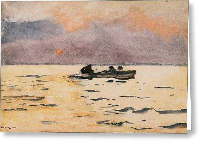 Rowers Paintings Greeting Cards - Rowing Home Greeting Card by Winslow Homer