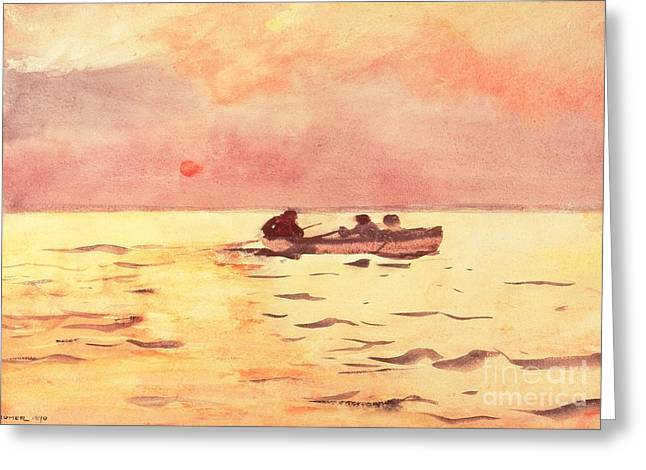 Docked Sailboats Paintings Greeting Cards - Rowing Home Greeting Card by Winslow Homer