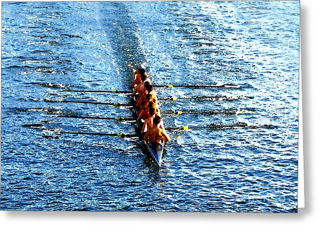 Rowing In Greeting Card by David Lee Thompson